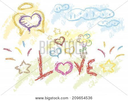 Love cute raster slogan and background with hearst and stars vector illustration