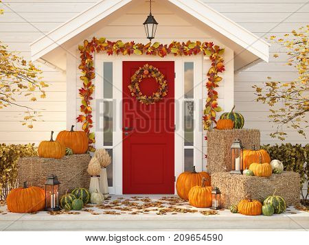 3d rendering. autumn decorated house with pumpkins and hay.