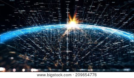 Connection lines Around Earth Globe Motion of binary code flow. Futuristic Technology Theme Background with Light Effect. 3D Rendering