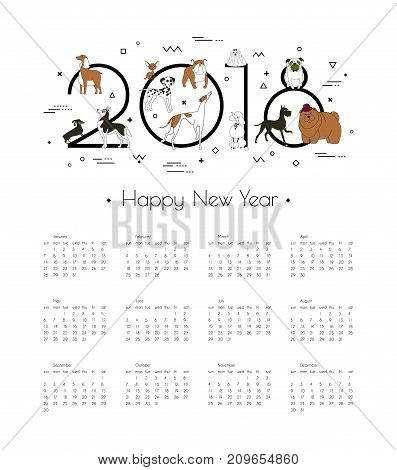 Calendar 2018 with different breeds of dogs. Symbol of the year in the Chinese calendar. Memphis style. Minimalism. Vector illustration. Isolated on white background.
