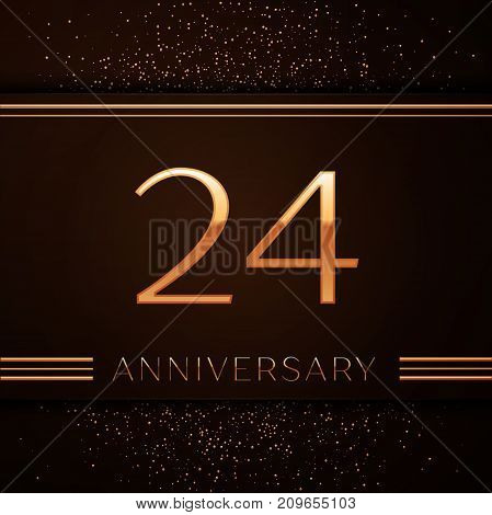 Realistic Twenty four Years Anniversary Celebration Logotype. Golden numbers and golden confetti on brown background. Colorful Vector template elements for your birthday party