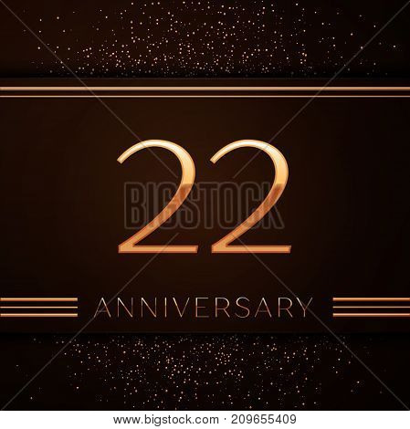 Realistic Twenty two Years Anniversary Celebration Logotype. Golden numbers and golden confetti on brown background. Colorful Vector template elements for your birthday party