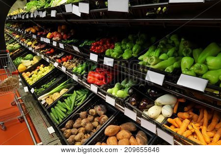 Variety of fresh vegetables in supermarket