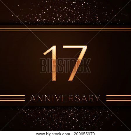 Realistic Seventeen Years Anniversary Celebration Logotype. Golden numbers and golden confetti on brown background. Colorful Vector template elements for your birthday party
