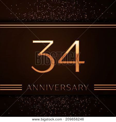 Realistic Thirty four Years Anniversary Celebration Logotype. Golden numbers and golden confetti on brown background. Colorful Vector template elements for your birthday party