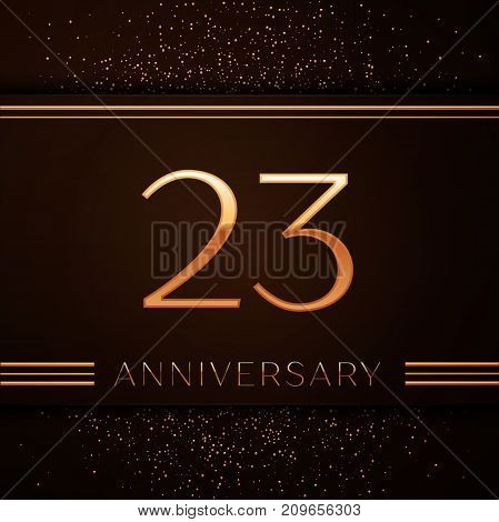 Realistic Twenty three Years Anniversary Celebration Logotype. Golden numbers and golden confetti on brown background. Colorful Vector template elements for your birthday party