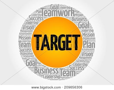 Target circle word cloud collage , business concept