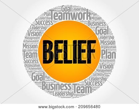BELIEF word cloud collage business concept background