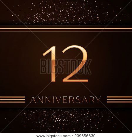 Realistic Twelve Years Anniversary Celebration Logotype. Golden numbers and golden confetti on brown background. Colorful Vector template elements for your birthday party