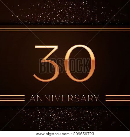 Realistic Thirty Years Anniversary Celebration Logotype. Golden numbers and golden confetti on brown background. Colorful Vector template elements for your birthday party