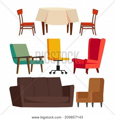 Cartoon Furniture Set Vector. Sofa, Chair, Table, Office Chair Flat Isolated