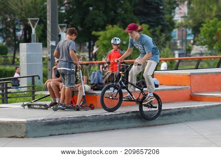 PERM RUSSIA - JUL 29 2017: Cyclist trains in Extreme park Perm Extreme Park was opened on October 10 2009 it is analogue of Louisville Extreme Park