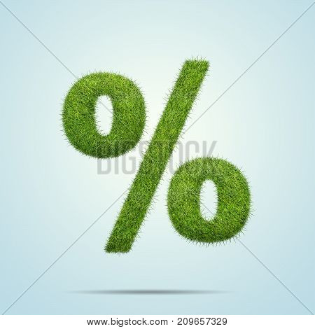 3d illustration of Percent sign shape of green grass isolated on blue background