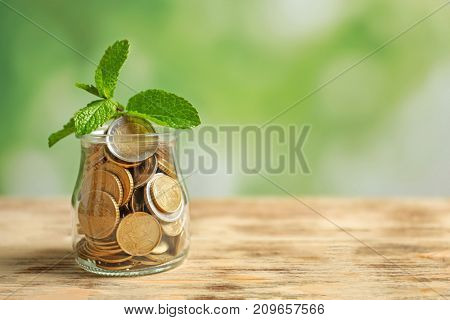 Plant growing in glass jar with coins on blurred background. Investment concept