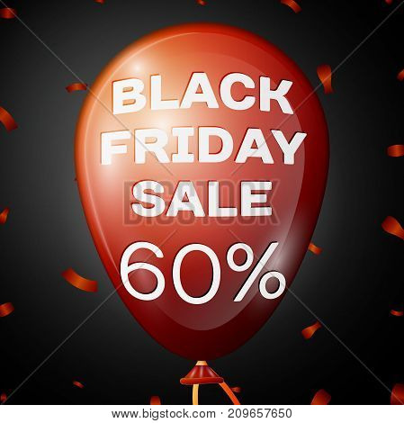Realistic Shiny Red Balloon with text Black Friday Sale Sixty percent for discount over black background. Black Friday balloon concept for your business template. Vector illustration