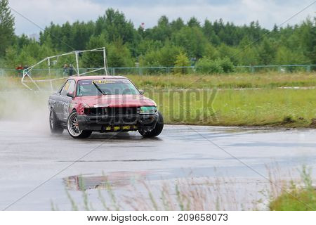 PERM RUSSIA - JUL 22 2017: Drifting car at Open Ural Championship Drift 2017