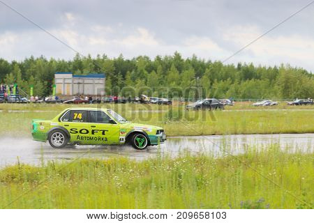 PERM RUSSIA - JUL 22 2017: Drifting car on track at Open Ural Championship Drift 2017