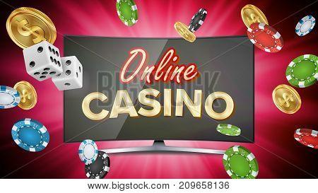Online Casino Poster Vector. Modern Computer Monitor Concept. Jackpot Billboard, Marketing Luxury Illustration.