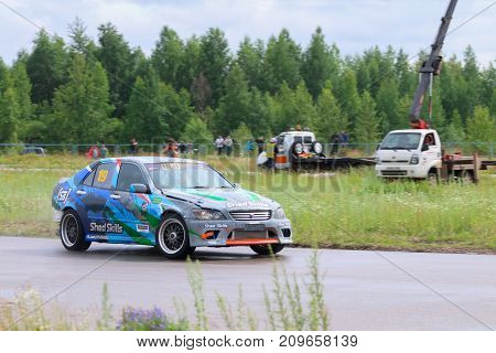 PERM RUSSIA - JUL 22 2017: Drifting car move on track at Open Ural Championship Drift 2017