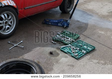 PERM RUSSIA - JUL 22 2017: Competitor car and tools for repair at Open Ural Championship Drift 2017