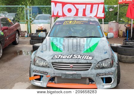 PERM RUSSIA - JUL 22 2017: Sport car with advertising at Open Ural Championship Drift 2017