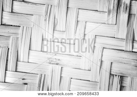 Pattern Nature For Background Of Handicraft Weave White Texture Wicker Surface. Closeup View. Darker