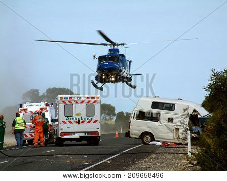 Helicopter Rescue at Car Accident Scene in Australias