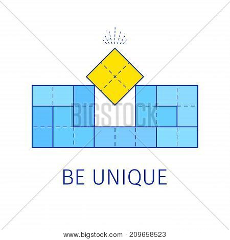 Be unique concept with tetris shapes. Vector illustration