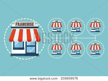 Franchise business in flat style. Vector illustration