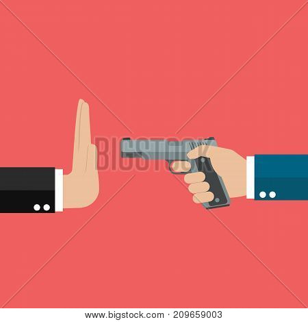 Stop gun violence. Gun control law. Vector illustration