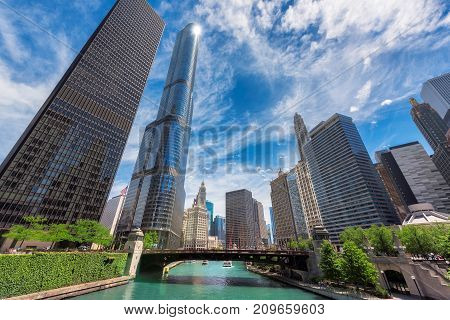 Chicago Skyline. Chicago downtown and Chicago River with bridges during sunny day.