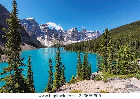 Rocky Mountains - Moraine lake in Banff National Park of Canada
