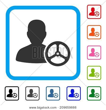 Driver Person icon. Flat grey iconic symbol in a light blue rounded frame. Black, gray, green, blue, red, orange color variants of Driver Person vector. Designed for web and software user interface.