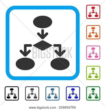 Flowchart icon. Flat gray iconic symbol in a light blue rounded rectangle. Black, gray, green, blue, red, orange color additional versions of Flowchart vector. Designed for web and app interfaces.