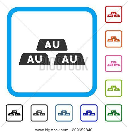 Gold Bullions icon. Flat grey iconic symbol inside a light blue rounded rectangle. Black, gray, green, blue, red, orange color variants of Gold Bullions vector.