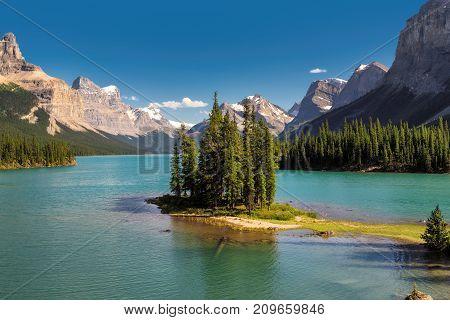 Rocky Mountains - Spirit Island in Maligne Lake, Jasper National park, Alberta, Canada.