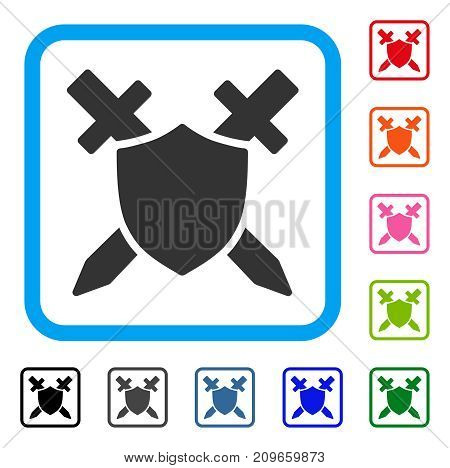 Guard Shield icon. Flat gray iconic symbol in a light blue rounded frame. Black, gray, green, blue, red, orange color versions of Guard Shield vector. Designed for web and software interfaces.