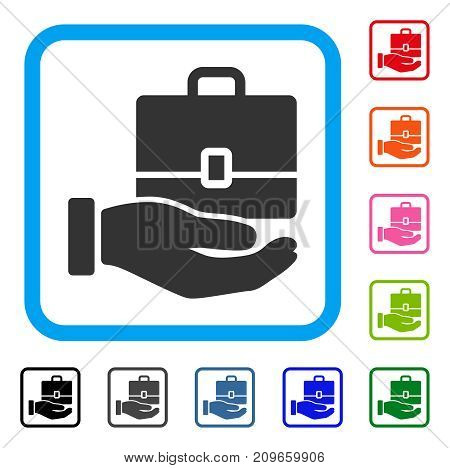 Hand Holding Case icon. Flat grey pictogram symbol inside a light blue rounded square. Black, gray, green, blue, red, orange color variants of Hand Holding Case vector.
