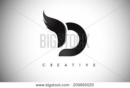 D Letter Wings Logo Design With Black Bird Fly Wing Icon.