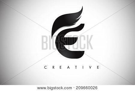 E Letter Wings Logo Design With Black Bird Fly Wing Icon.