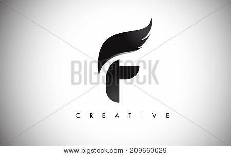 F Letter Wings Logo Design With Black Bird Fly Wing Icon.