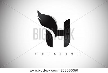 H Letter Wings Logo Design With Black Bird Fly Wing Icon.