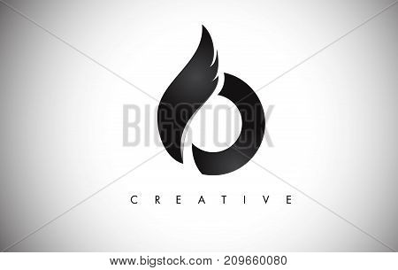 O Letter Wings Logo Design With Black Bird Fly Wing Icon.