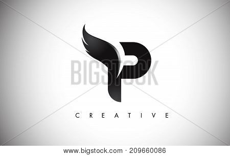 P Letter Wings Logo Design With Black Bird Fly Wing Icon.