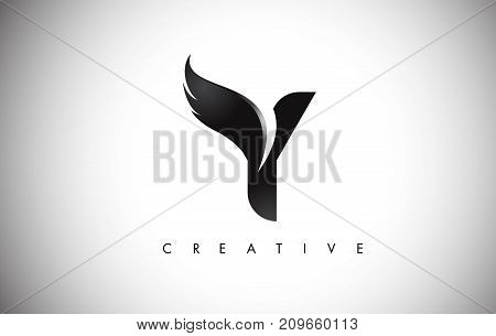 Y Letter Wings Logo Design With Black Bird Fly Wing Icon.