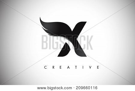 X Letter Wings Logo Design With Black Bird Fly Wing Icon.