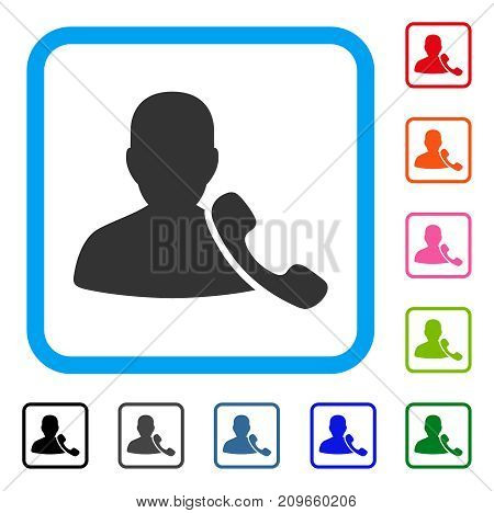 Phone Support icon. Flat grey pictogram symbol in a light blue rounded frame. Black, gray, green, blue, red, orange color variants of Phone Support vector. Designed for web and application UI.
