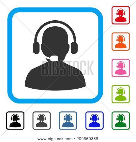 Receptionist icon. Flat gray pictogram symbol in a light blue rounded square. Black, gray, green, blue, red, orange color versions of Receptionist vector. Designed for web and software user interface.
