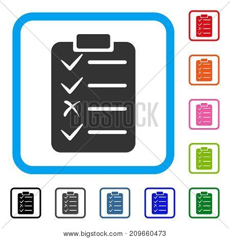 Task List icon. Flat grey iconic symbol in a light blue rounded square. Black, gray, green, blue, red, orange color additional versions of Task List vector. Designed for web and app interfaces.