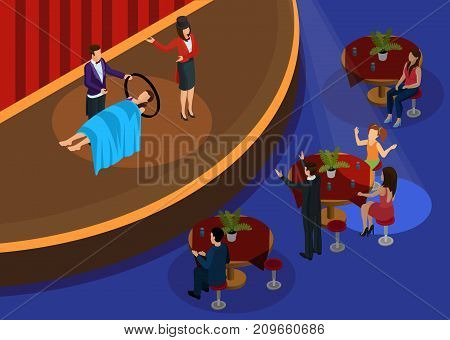 Isometric magic performance template with magicians showing illusion of levitation in front of surprised spectators vector illustration